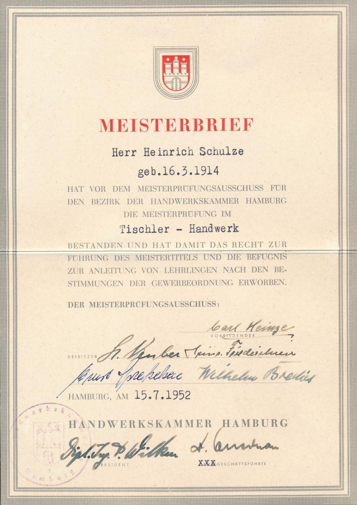 Meisterbrief Heinrich Schulze 1948 | Geschichte SchulzeBraak