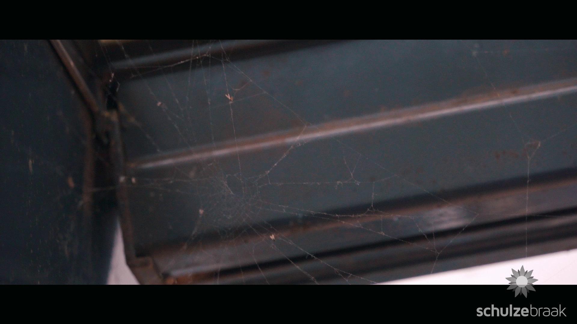 Spinnenweben im Terrassendach