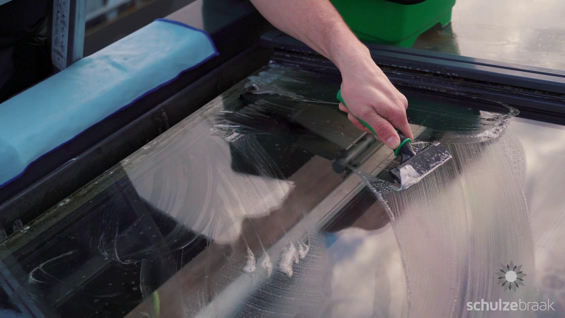 Glasschaber für Glasdach Reinigung